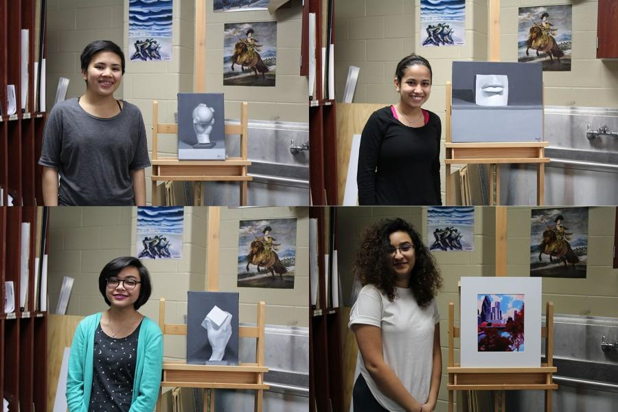 Four+of+the+nineteen+students+who+won+a+Scholastic+Art+Award+pose+with+their+winning+pieces.
