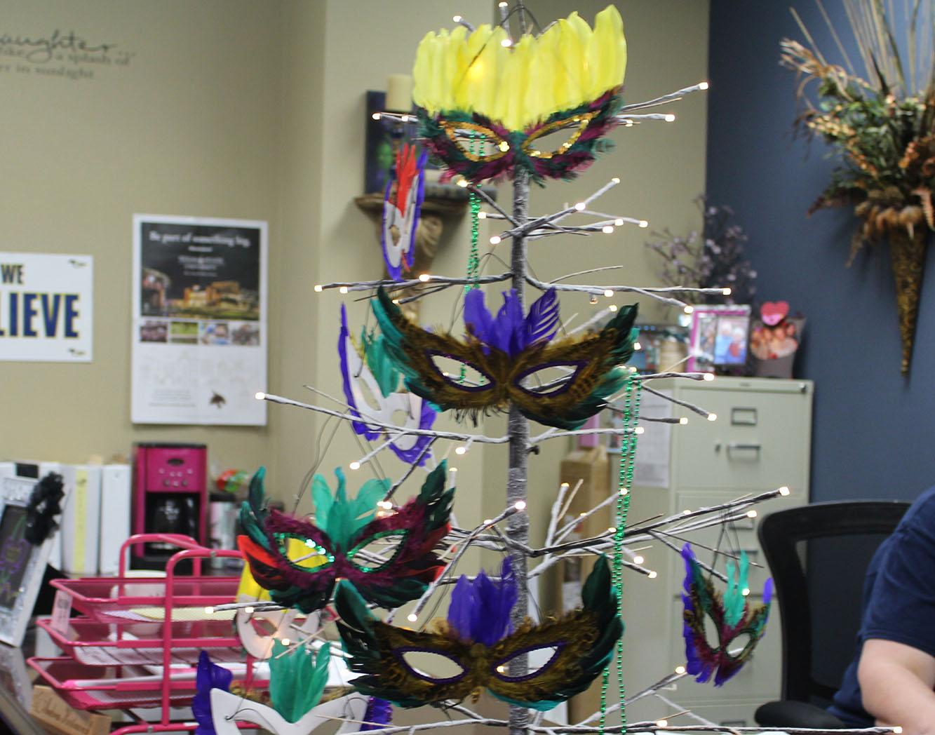 Mardi Gras tree located in the attendance office at Cypress Ranch.