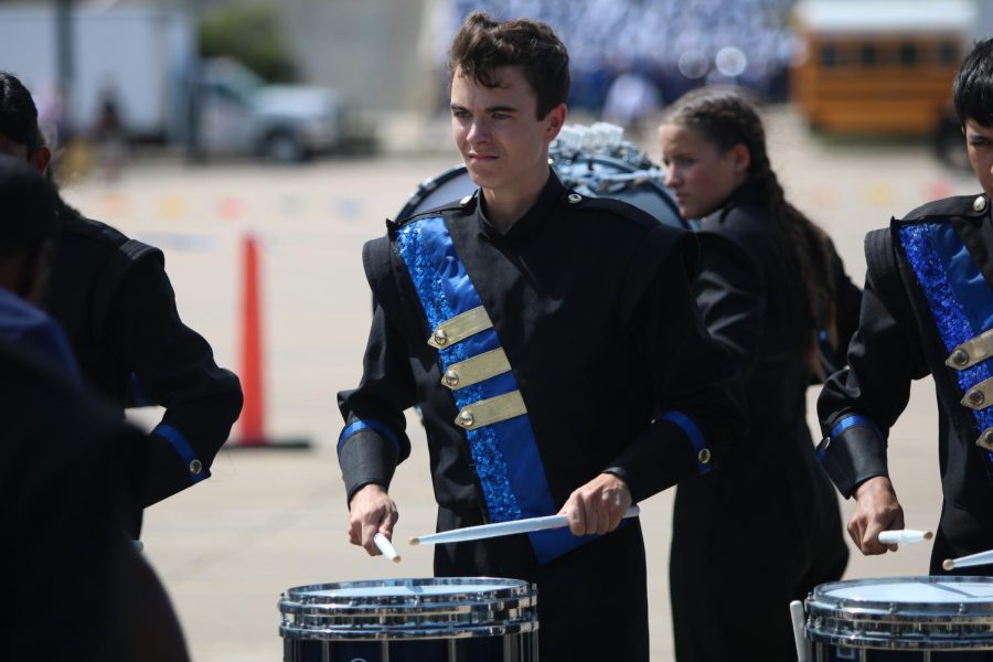 Philip Whaley playing the drums at a Band competition.